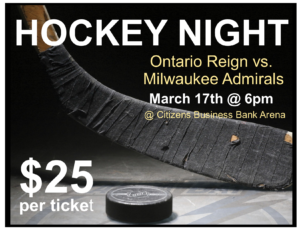 Ontario Reign Hockey Game @ Citizen's Business Bank Arena | Ontario | California | United States
