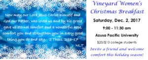 Vineyard Women's Christmas Breakfast @ Azusa Pacific University | Glendora | California | United States
